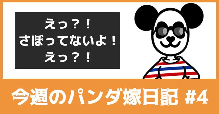 えっ?!サボってないよ?!えっ?!【今週のパンダ嫁日記#4】
